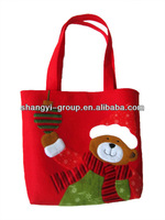 (GB-02B)Cute Christmas Bear Felt Tote Bag/Felt Handbag