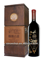 1 bottled wine wooden gift box with customized logo