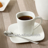 2014 Emmy style elegant design durable square ceramic coffee cup, coffee mug for hotel and restaurant