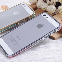 2014 fashion mobile rhinestone phone case for iphone 5 with mid frame bumper