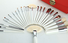 good quality makeup 24pcs animal hair brush set with cosmetic bag