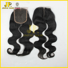 JP hair grade 5A middle parting brazilian lace closure bleached knots