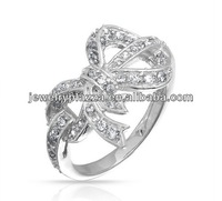Ebay Hot Pave CZ 925 Sterling Silver Ribbon Bow Ring