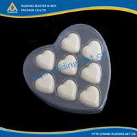 customized heart shape plastic clear box