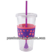 Clear Acrylic Tumbler 16oz with propeller straw
