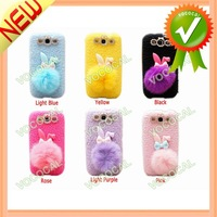 Cute Pompon Tail Rabbit TPU Case for Samsung Galaxy S3 I9300
