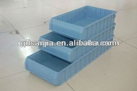 Plastic tool bin with division boards and metal handle
