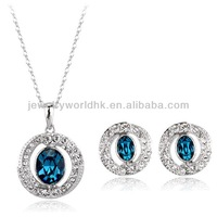 Wholesale authentic austrian crystal angle eyes pendant 18k gold plated fashion jewellery set