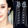 Fashion accessories luxury sparkling white full crystal tassel earrings