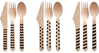 Black pattern disposable Wooden Cutlery Set 13 Colors