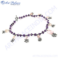 Traditional African Amethyst & Rose Quartz Silver Necklace, Fashionable Beaded Silver Jewelry