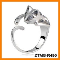 Fashion Cat Crystal Ring