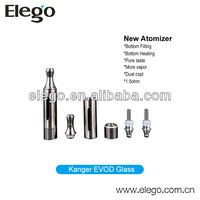 Best Seller Smoking Pipe Kanger Evod Glass 1.5ohm Dual Coils Atomizer With Replaceable Drip Tip
