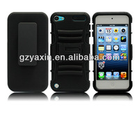 Hot robust belt clip shell kickstand rubber case for iPod touch 5,sublimation case for ipod touch 5
