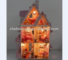 DIY wooden house doll house with light and simulation furniture