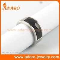 black agate finger ring 316l stainless steel men's ring fashion jewelry manufacturer