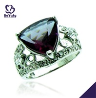 Trendy deep purple triangle stone hollow design cock ball ring