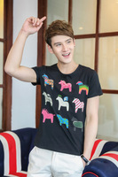 2014 Fashion Men Cartoon Horse Printed New Round Collar Fitted Tees