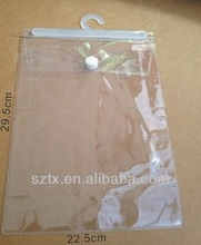 Eco-friendly white transparent free pvc bag with hook