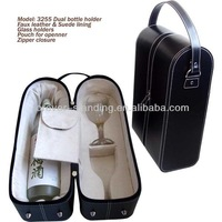 1 bottle wine carrier with 2 glasses holder and an opener pouch
