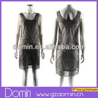 Sexy Sheer Organza Fashion Embellished Bead and Sequin Women Shift Dress