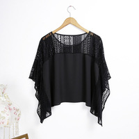 2014 new fashion casual dolman sleeves perspective black chiffon sexy girls tops