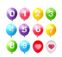Wholesale 2014 good quality Colourful wedding lighted Party decoration Balloons 12inch 3.2g number printed latex balloon