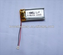 Thin li polymer battery 3.7v 120mah for small portable devices cordless phone/hearing aid