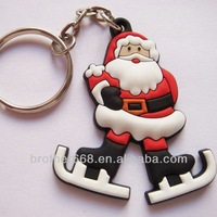 High quality PVC key ring cute Santa Claus shape key chain for gifts