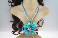 2014 Latest Design Fashion Royal Blue Luxury Crystal Statement Necklace Jewelry Wholesale