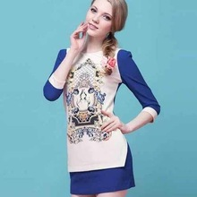 NG1022 2014 Promoting Long Sleeve Women Dresses High Quality Plus Size Dress For Ladies