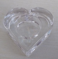 crystal heart shaped glass candle holder for table decoration