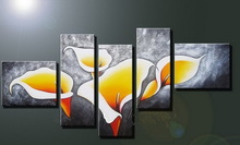 hand painted 5 group simple flower paintings from xiamen factory