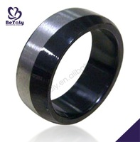 Half design shiny fashion rings jewelry black stone for men