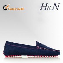 2015 lady loafers suede leather shoe