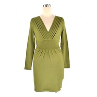 V Neck Long Sleeve Slim Knitted Dress M L Plus Size