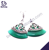 Fan-shaped green stone silver wholesale chic earring prongs