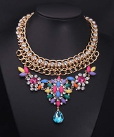 New Arrival Fashion Luxurious multichain Crystal Stone Chunky choker statement brand Necklace women jewelry