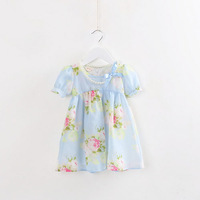 Tao1013 Korean new children's summer explosion models selling dress children's short-sleeved chiffon girls dress wholesale