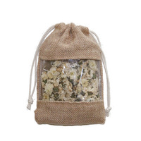 gift jute drawstring bags with window