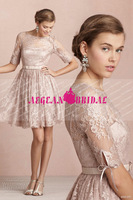 AEB61601 2015 Hot Sale Long Sleeves Pink Lace Knee Length Cheap Bridesmaid Dress