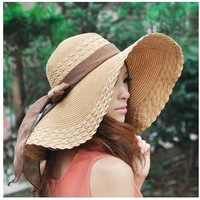 Ladies Superb Summer Sun Beach Floppy Derby Hat Wide Large Brim straw hat
