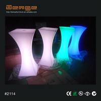 square high top cocktail table plastic led bar table