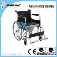 Easy folding commode wheelchair with PVC leather