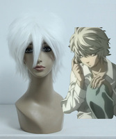 High Quality 32CM Long Straight Gin Tama/DEATH NOTE-Sakata Gintoki/Near White Cosplay Costume wig
