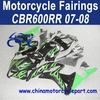 Rapid Delivery For Honda CBR600RR 07 08 Green Flame Motorcycle Fairing FFKHD009