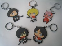 Attach on Titan key rings rubber soft PVC key chains