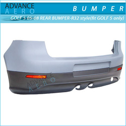 FOR 05 06 07 08 VOLKSWAGEN VW GOLF 5 R32 STYLE PP POLYPROPYLENE REAR BUMPER+LIP WITH RED REFLECTOR AND DUAL MUFFLER OUTLET