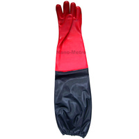 NMSAFETY red PVC long sleeve labor gloves for fishing