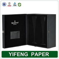 high quality custom black paper cardboard gift boxes for wine glasses